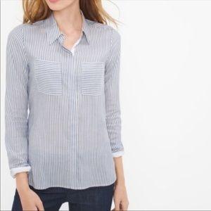 White house black market button down shirt 10 blue